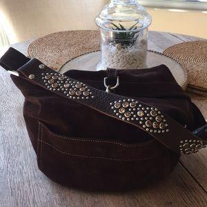 Tylie Malibu Suede Hobo bag with Swarovski crystal